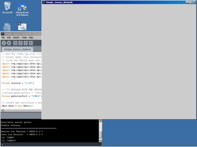Blank grey output window