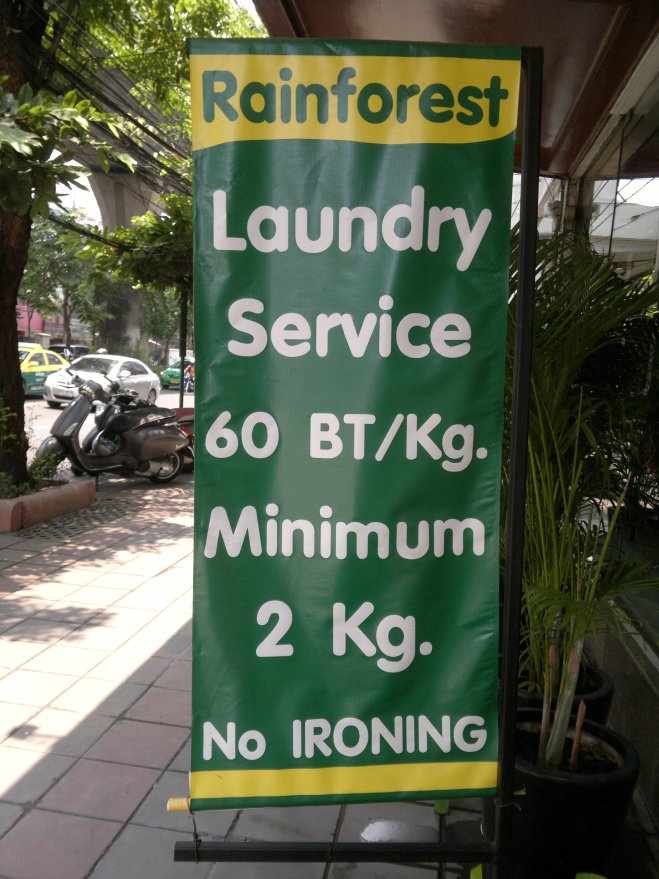 A typical sign for a laundry service