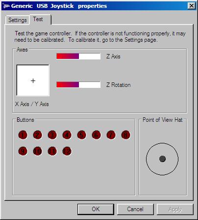 Generic USB Joystick propeties dialog