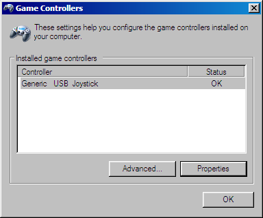 Game Controllers Control Panel