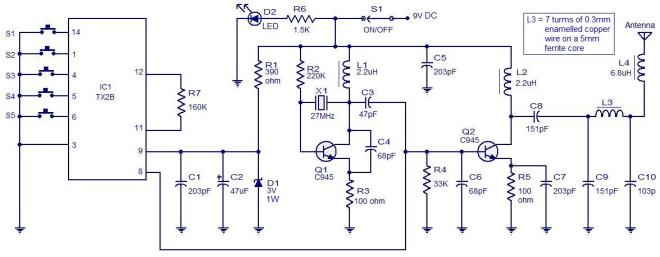 5 channel radio remote control circuit