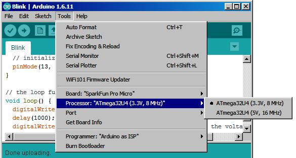 The Processor menu