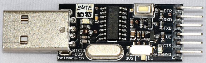 USB-TTL Interface board using the CH340 with voltage switch and CTS/DTR