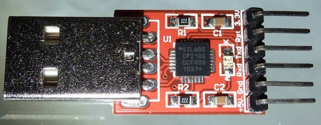 USB-TTL Interface board using the CP2102 with only DTR (Rst), Rx and Tx lines