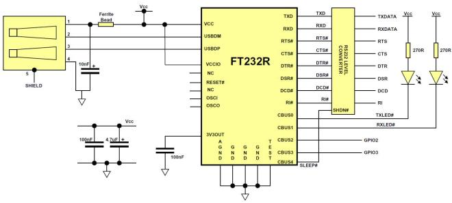 Schematic of USB-TTL Interface board using the FT232RL