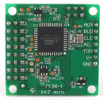 Rear of the KK2 mini flight controller