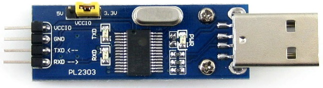 USB-TTL Interface board using the PL2303, with voltage selection jumper