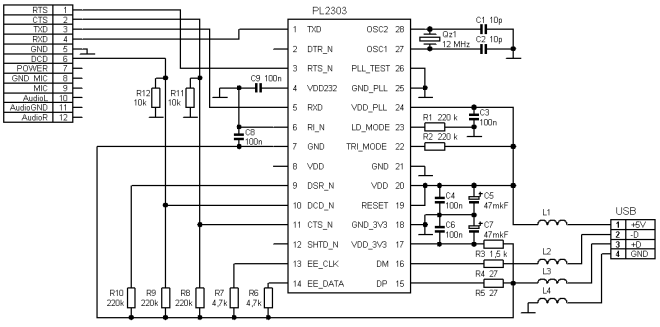 Schematic of USB-TTL Interface board using the PL2303