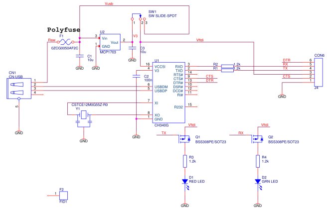 Schematic of USB-TTL Interface board using the CH340G