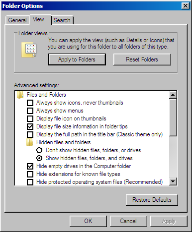 Folder and Search options dialog