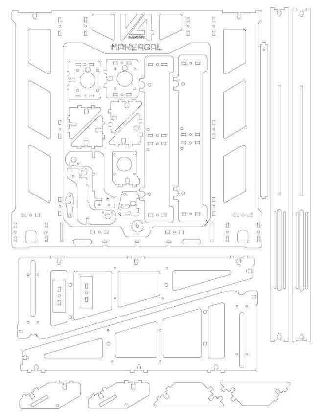 P3Steel v.4 laser cut steel parts