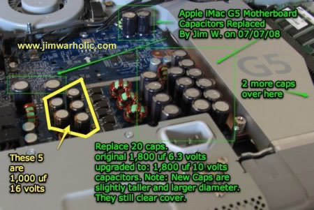Location of Capacitors on MOB Next to Power Supply on 1st Generation Apple iMac G5