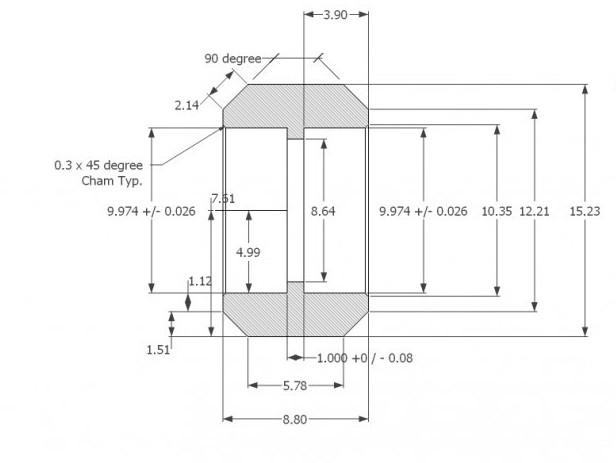 Delrin V Roller dimensions