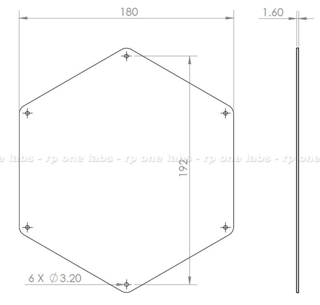 FR4 Hex Heatbed Dimensions
