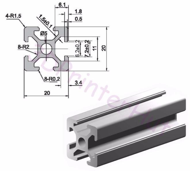 Wilson II 2020 Aluminium Extrusion from 3DPrinterHut
