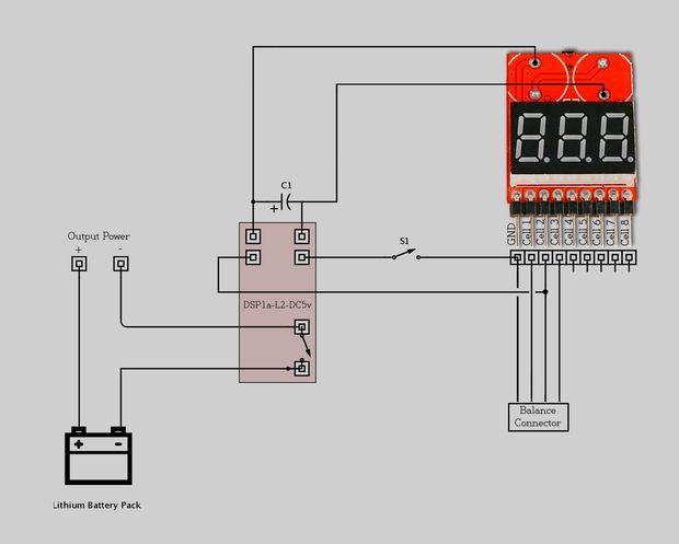 RC low voltage alarm and cutoff - no switch