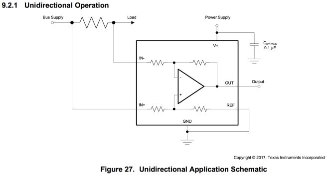 Schematic of current sensing amplifier