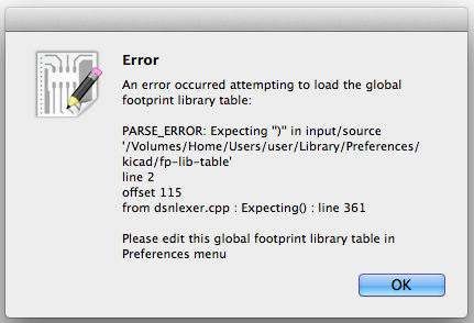KiCad gobal footprint library table parse error