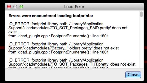 KiCad module load error