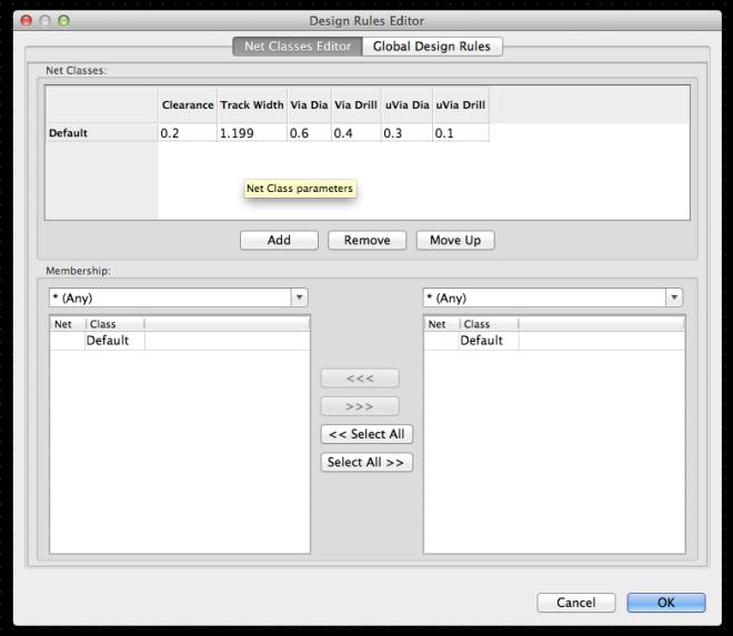 KiCad - Net Classes Editor
