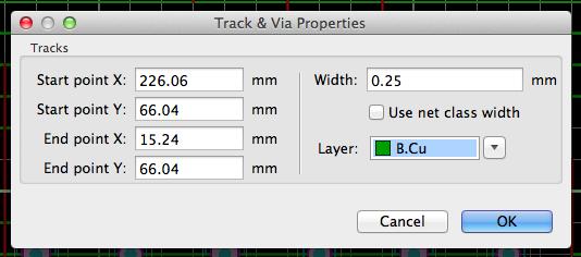 Track & Via Properties dialog