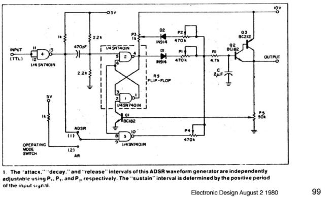 ADSR waveform generator - Get an ADSR waveform for a few components