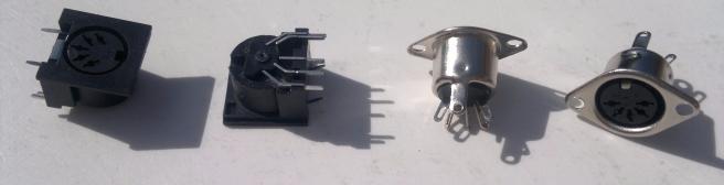 5 pin DIN sockets - MIDI (side view)